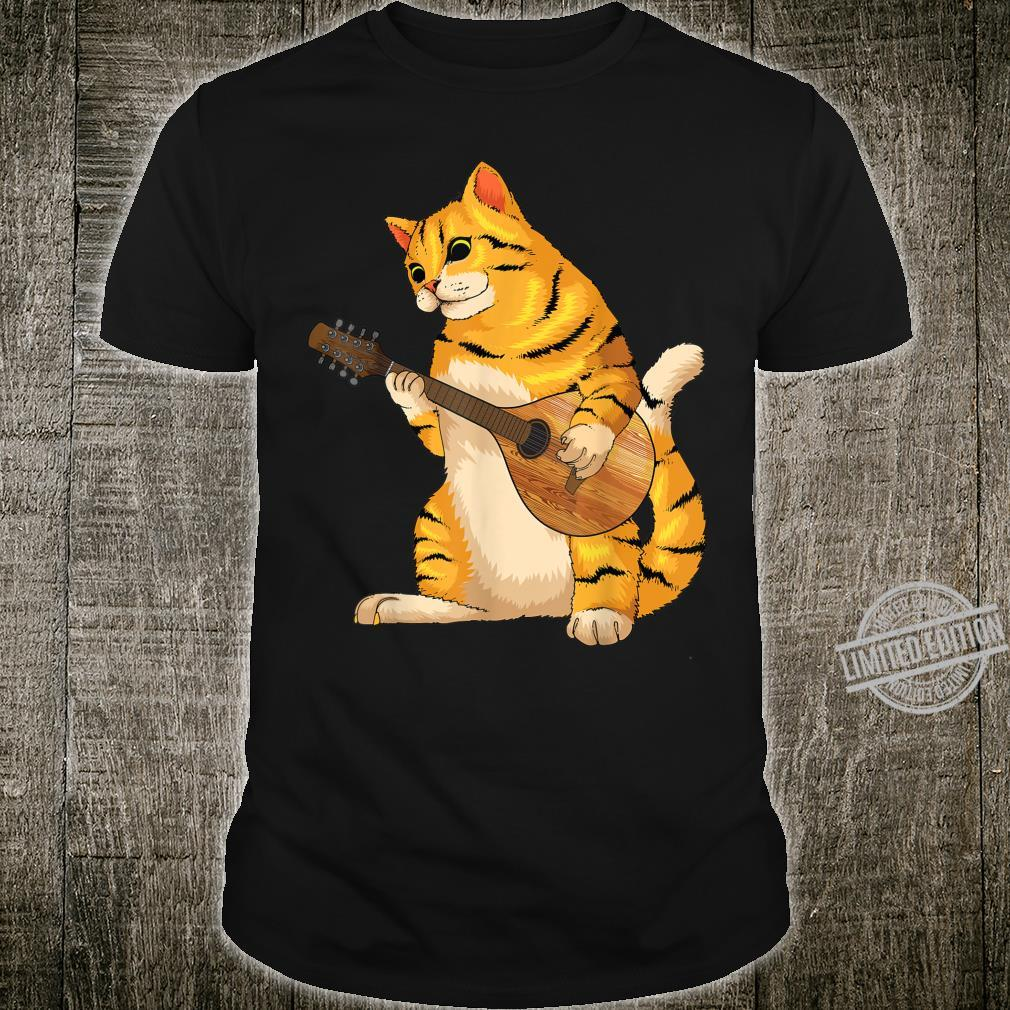 Funny Cat Playing Mandolin Cool Love Animal Musician Shirt