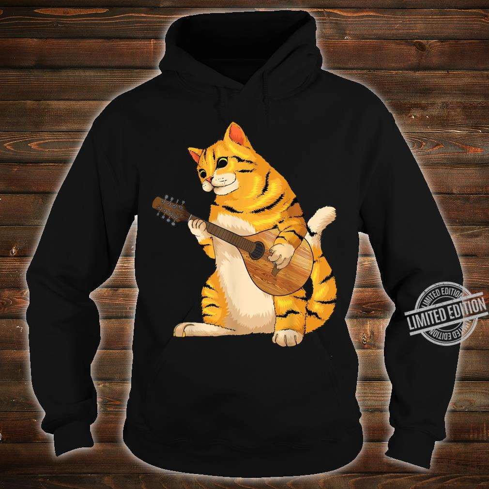 Funny Cat Playing Mandolin Cool Love Animal Musician Shirt hoodie