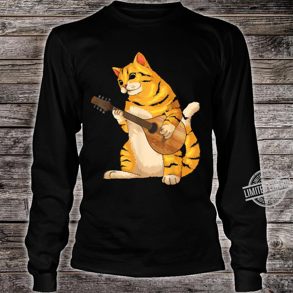Funny Cat Playing Mandolin Cool Love Animal Musician Shirt long sleeved