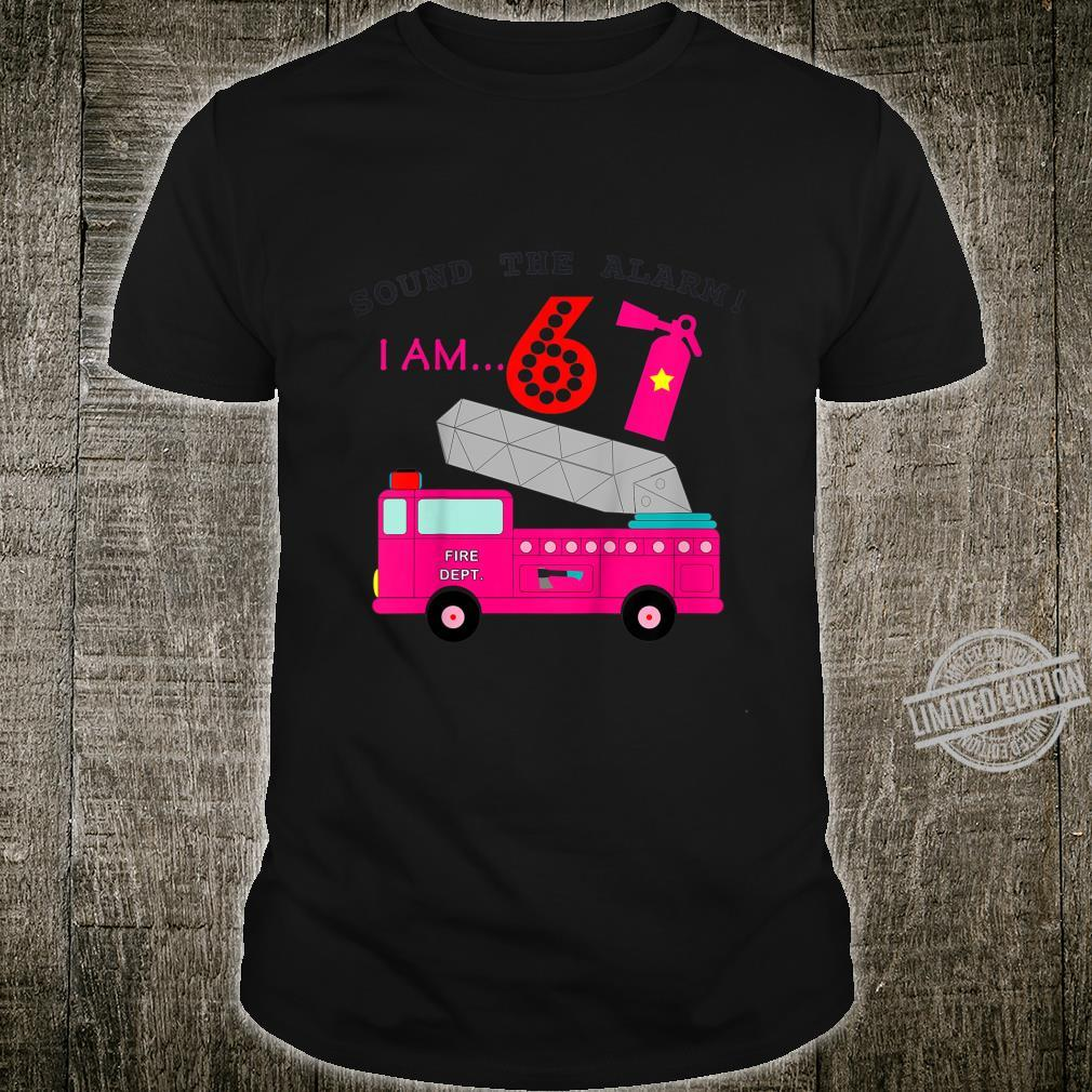 Kids Girls Fire Truck 6th Birthday Cute for Age 6 Year Old Shirt