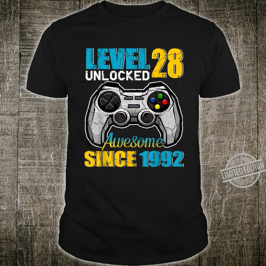 Level 28 Unlocked Awesome 1992 Video Game 28th Birthday Shirt